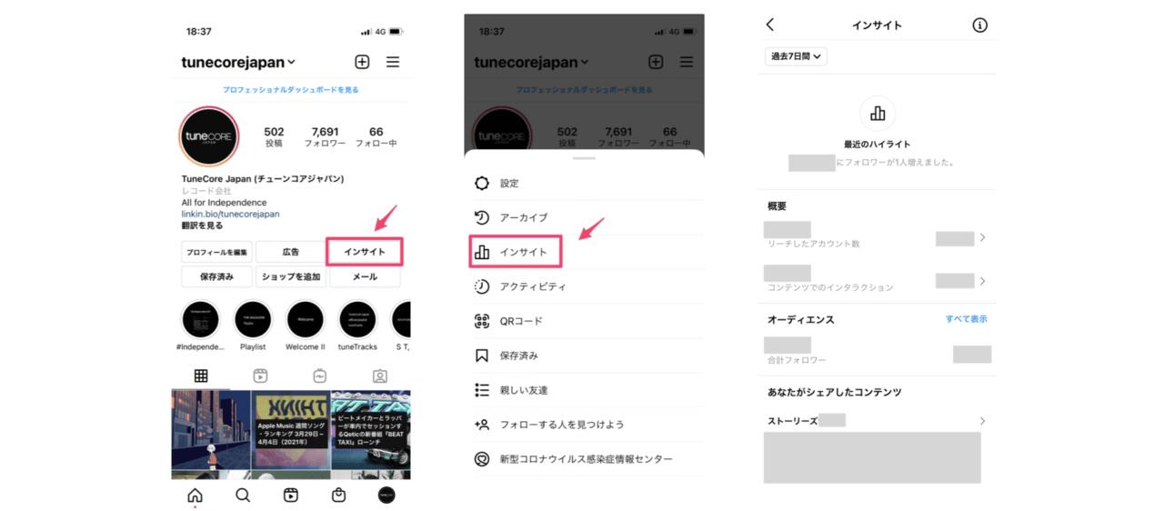 Instagramインサイトの管理画面